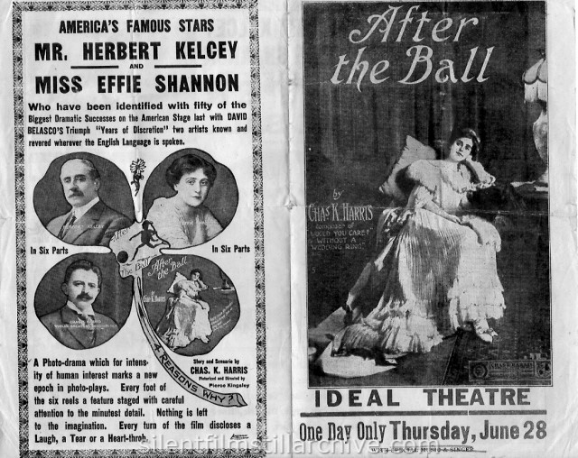 Movie herald of Herbert Kelcey and Effie Shannon in AFTER THE BALL (1914)
