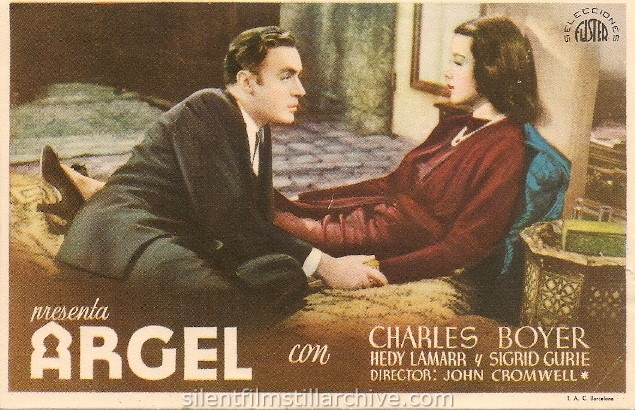 Spanish advertising herald for ALGIERS (1938) with Charles Boyer and Hedy Lamarr. Spanish title: ARGEL.