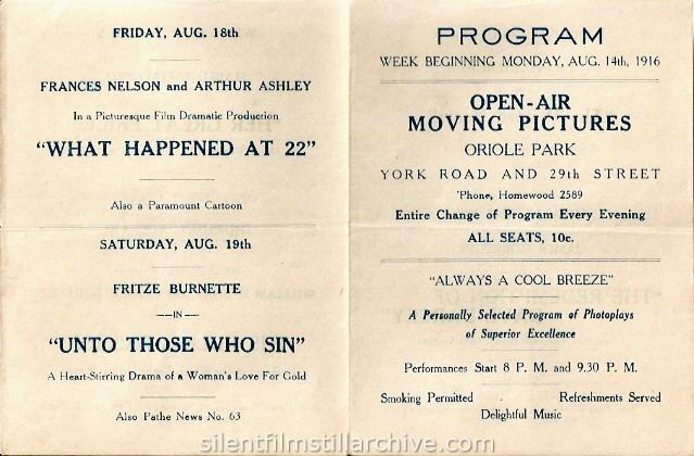 Baltimore Oriole Baseball Park (and outdoor movie theater) program, August 14, 1916