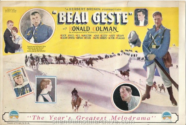 BEAU GESTE (1926) herald with William Powell, Ralph Forbes, Ronald Colman, Neil Hamilton, Alice Joyce, Mary Brian and Noah Beery