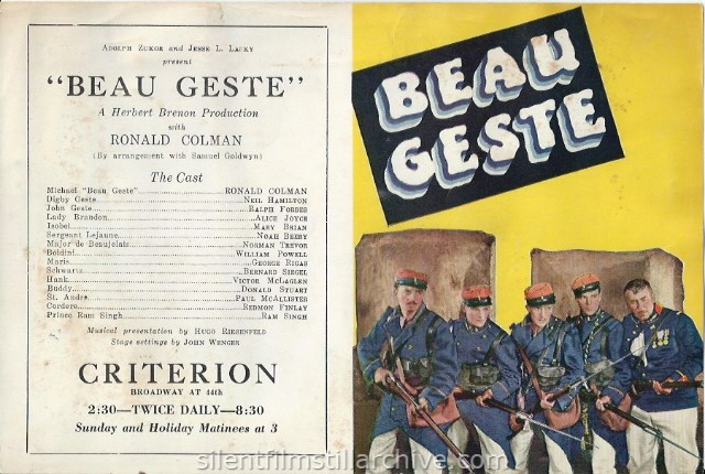 BEAU GESTE (1926) herald with William Powell, Ralph Forbes, Ronald Colman, Neil Hamilton and Noah Beery