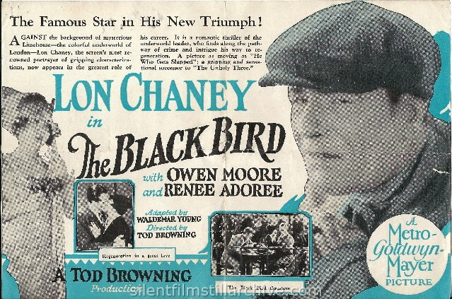 Advertising herald for THE BLACK BIRD (1926) with Lon Chaney, Sr. and Renée Adorée.