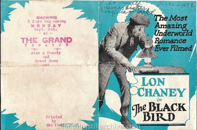 Advertising herald for THE BLACK BIRD (1926) with Lon Chaney, Sr.