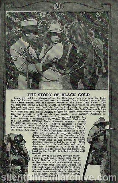 Advertising herald BLACK GOLD (1928) with Laurence Crier and Kathryn Boyd, showing at the Goldfield Theatre in Baltimore, Maryland