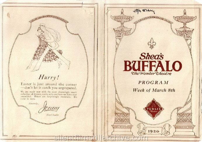 Shea's Buffalo Theatre, Buffalo, New York program