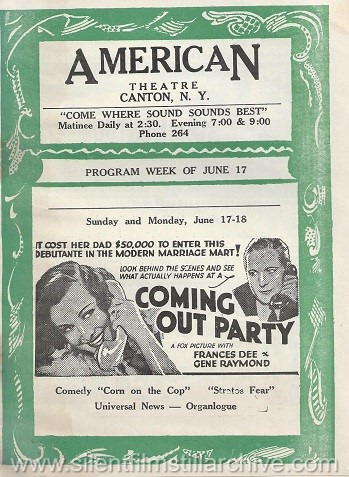 American Theatre program, June 17, 1934, Canton, New York, featuring COMING OUT PARTY