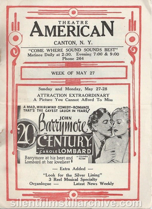 American Theatre program, May 27, 1934, Canton, New York, featuring 20th Century