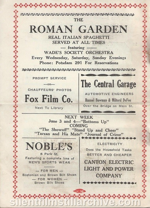 American Theatre program, May 27, 1934, Canton, New York