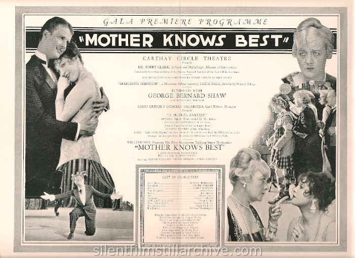 Carthay Circle Theatre, Los Angeles, California, program for MOTHER KNOWS BEST (1928) with Madge Bellamy, Louise Dresser and Barry Norton