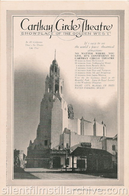 Carthay Circle Theatre, Los Angeles, California, program for MOTHER KNOWS BEST (1928)