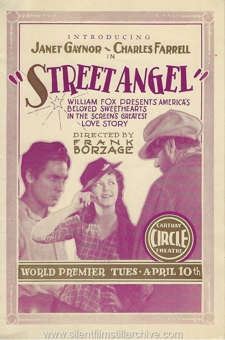 Carthay Circle Theater premier program for STREET ANGEL (1928) with Janet Gaynor and Charles Farrell