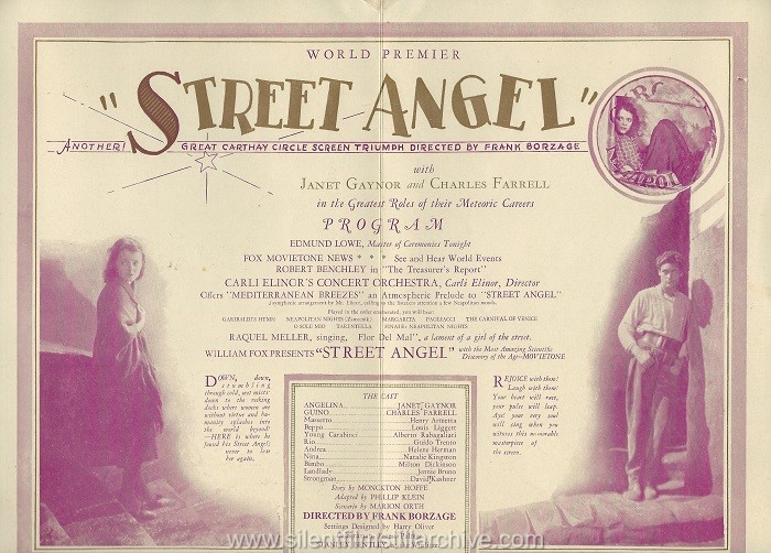 Carthay Circle Theater World Premier program for STREET ANGEL (1928) with Janet Gaynor and Charles Farrell
