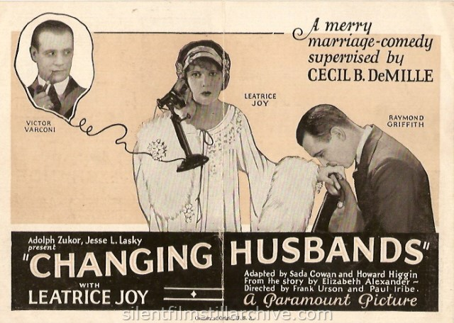 Victor Varconi, Leatrice Joy and Raymond Griffith in CHANGING HUSBANDS (1924) movie herald