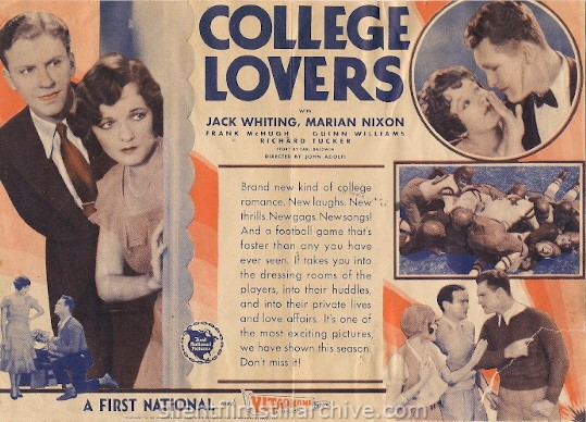 Advertising Herald for COLLEGE LOVERS (1930) with Jack Whiting and Marian Nixon.
