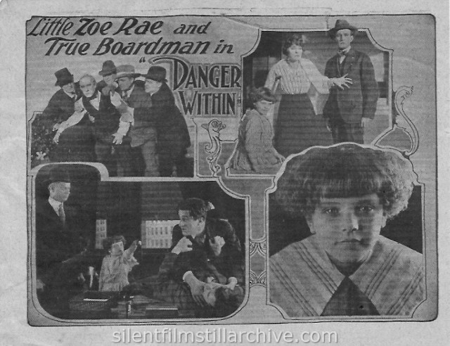Zoe Rae and True Boardman in DANGER WITHIN (1918) movie herald