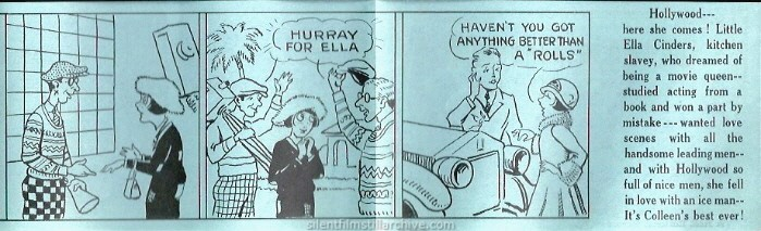 Comic strip advertising herald for Colleen Moore in ELLA CINDERS (1926)