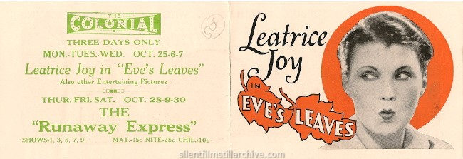EVE'S LEAVES (1926) herald with Leatrice Joy