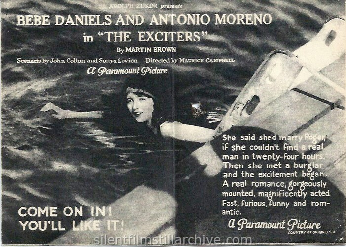 THE EXCITERS (1923) advertising herald with Bebe Daniels and showing at the Opera House in Idaho Springs, Colorado