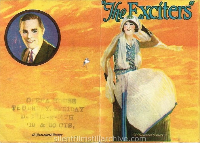 THE EXCITERS (1923) advertising herald with Bebe Daniels and Antonio Moreno showing at the Opera House in Idaho Springs, Colorado
