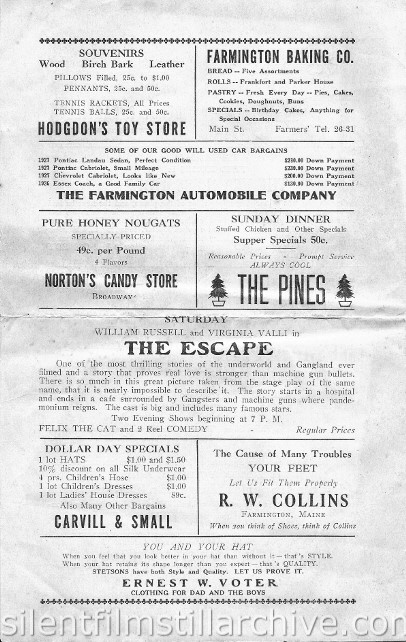 Farmington, Maine Broadway Theatre, July 23, 1928 program