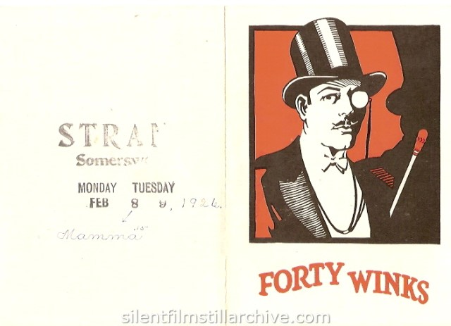 Advertising herald for FORTY WINKS (1925) with Raymond Griffith at the Strand Theater, Somersworth, New Hampshire