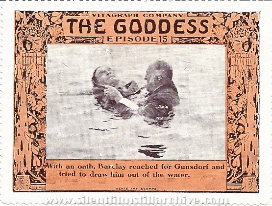 Collector stamp for THE GODDESS (1915) serial with Anita Stewart