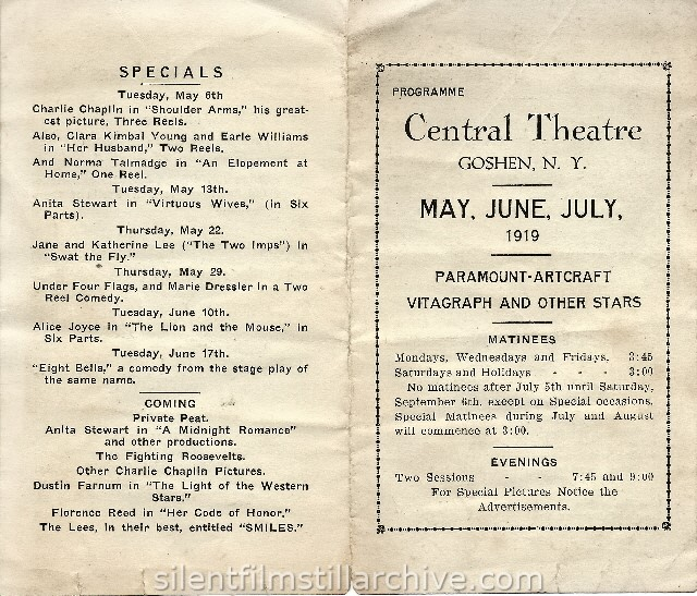 Central Theatre program, Goshen, New York, , May-July,1919