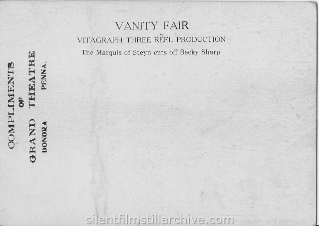 VANITY FAIR (1911) postcard from the Grand Gheatre in Donora, Pennsylvania