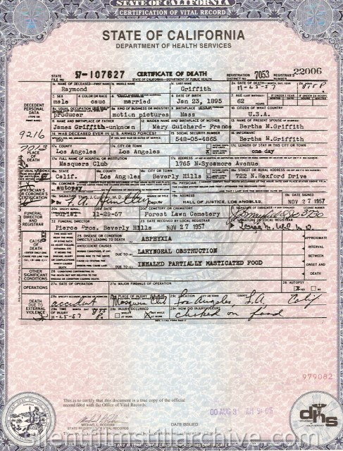 Raymond Griffith death certificate