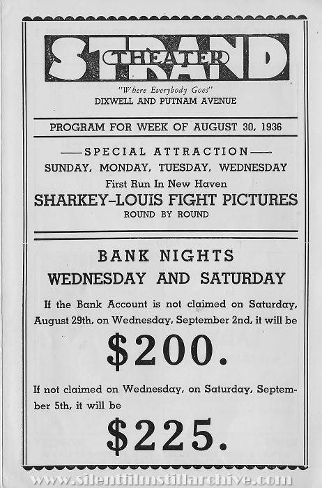 Hamden, Connecticut Strand Theater program from August 30, 1936