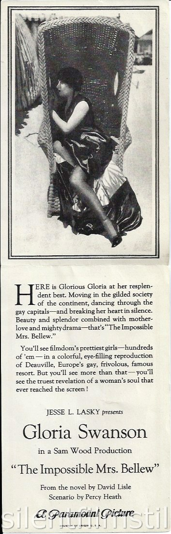 Advertising herald for THE IMPOSSIBLE MRS. BELLEW (1922) with Gloria Swanson