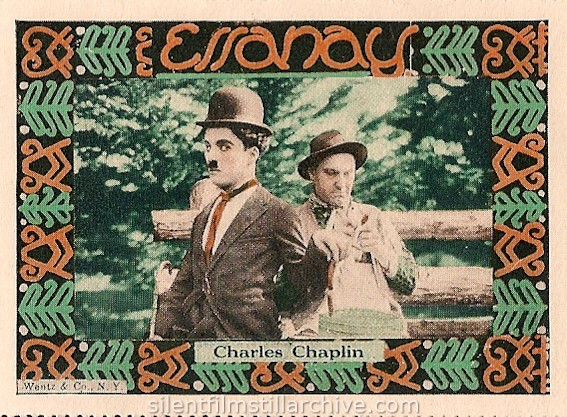 IN THE PARK (1915) stamp with Charlie Chaplin and Ernest Van Pelt, Wentz & Co. stamp