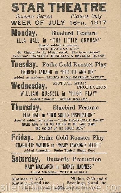 Ithaca Star Theater advertising card