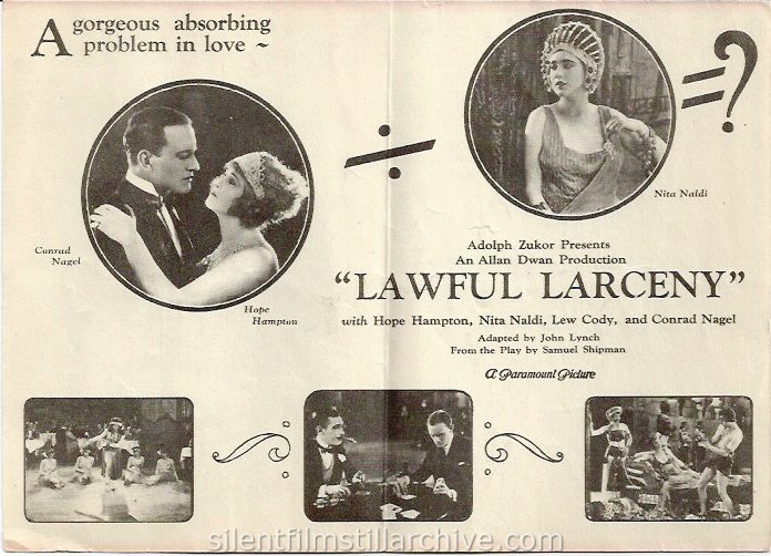 LAWFUL LARCENY (1923) advertising herald with Nita Naldi, Conrad Nagel and Hope Hampton