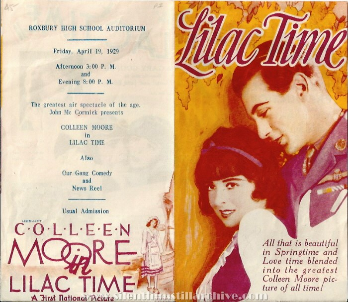 Herald for LILAC TIME (1928) with Colleen Moore and Gary Cooper