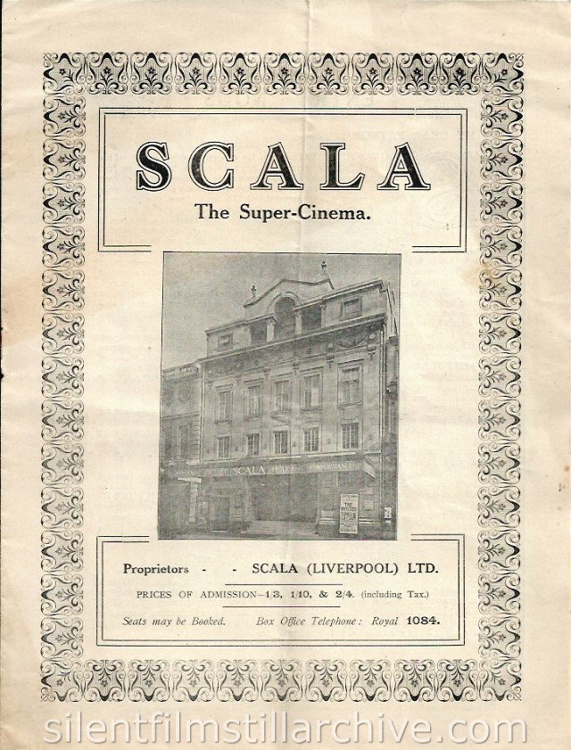 Scala Super Cinema program, Liverpool, England, December 31, 1917