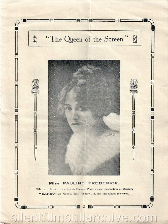 Scala Super Cinema program, Liverpool, England, December 31, 1917 featuring Pauline Frederick in SAPHO (1917).