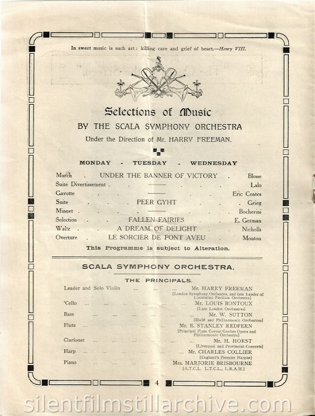 Scala Super Cinema program, Liverpool, England, December 31, 1917 featuring the Scala Symphone Orchestra