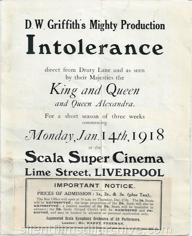 Scala Super Cinema program, Liverpool, England, December 31, 1917. INTOLERANCE (1916) is coming soon.