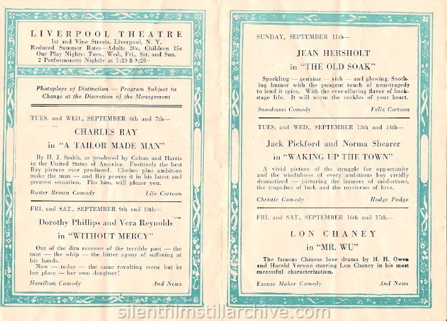 Liverpool, New York Theater program, September 6, 1927