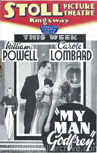 London Stoll Picture Theatre Kingsway, February 15th, 1937 program for MY MAN GODFREY (1936) with William Powell and Carole Lombard