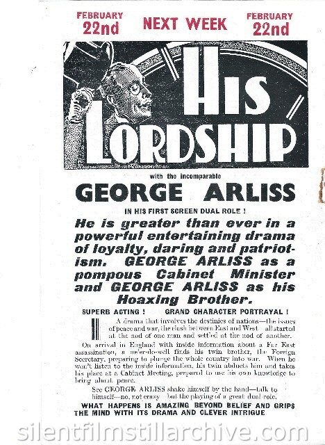 London Stoll Picture Theatre Kingsway, February 15th, 1937 program for HIS LORDSHIP (1936) with George Arliss [A MAN OF AFFAIRS (1936)]