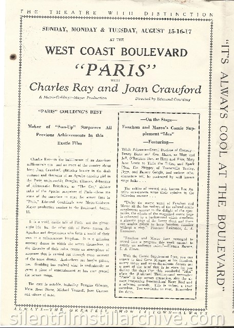 Los Angeles Boulevard Theatre program featuring PARIS (1926) with Charles Ray and Joan Crawford