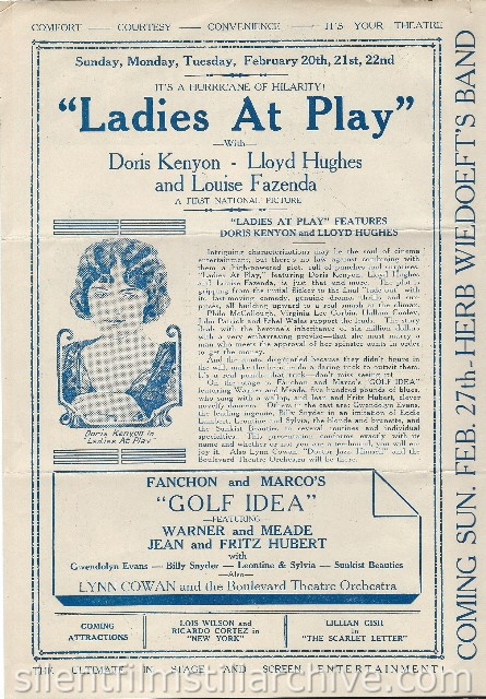Los Angeles Boulevard Theatre program featuring LADIES AT PLAY (1926) with Doris Kenyon