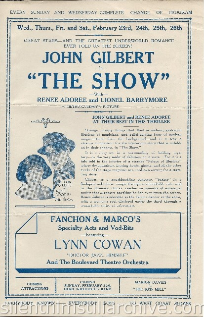 Los Angeles Boulevard Theatre program featuring THE  SHOW with John Gilbert and Renee Adoree