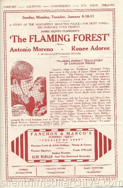 Los Angeles Boulevard Theatre program featuring THE FLAMING FOREST with Antonio Moreno and Renee Adoree