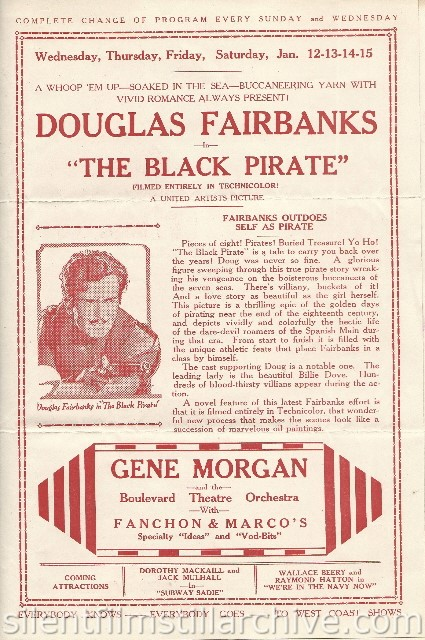 Los Angeles Boulevard Theatre program featuring THE BLACK PIRATE with Douglas Fairbanks and Billie Dove