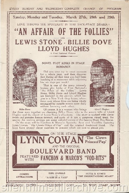 Los Angeles Boulevard Theatre program featuring AN AFFAIR OF THE FOLLIES (1927) with Billie Dove and Lloyd Hughes