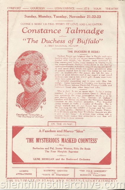 Los Angeles Boulevard Theatre program featuring THE DUCHESS OF BUFFALO (1926) with Constance Talmadge