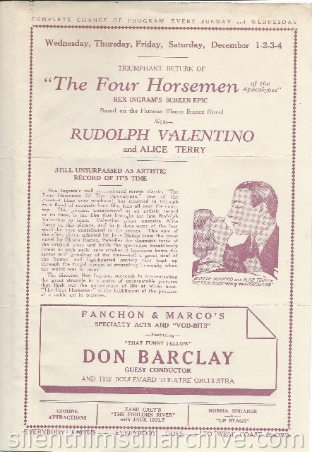 Los Angeles Boulevard Theatre program featuring THE FOUR HORSEMEN OF THE APOCALYPSE with Rudolph Valentino and Alice Terry